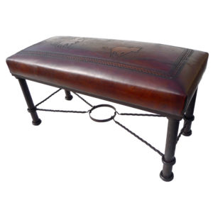 Fernando Iron Bench, Calf Roper, Antique Brown