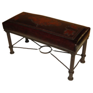 Fernando Iron Bench, Fleur de Lys, Antique Brown