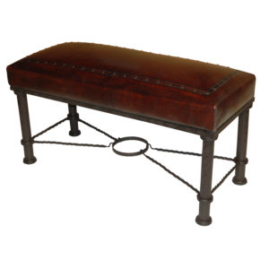 Fernando Iron Bench, Plain with Tacks, Antique Brown