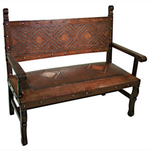 Spanish Heritage Bench, with back, Diamond, Antique Brown