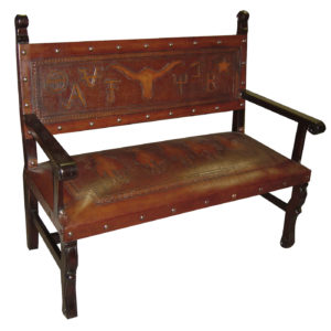 Spanish Heritage Bench, with back, Western, Antique Brown