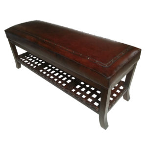 Super Bench, Plain with Tacks, Antique Brown