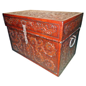 Large Trunk, Flat Top, Colonial, Antique Brown