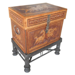 Medium Trunk, Flat Top, Fire Horses, with stand