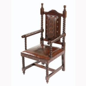 Solomon Arm Chair, Circle, Rope, Antique Brown
