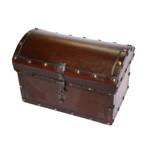 Small Box Round Top, Plain with Tacks, Antique Brown