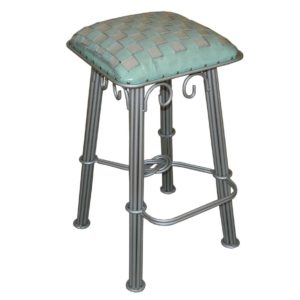 western-iron-barstool-ash-turquoise-braided-leather-silver-iron