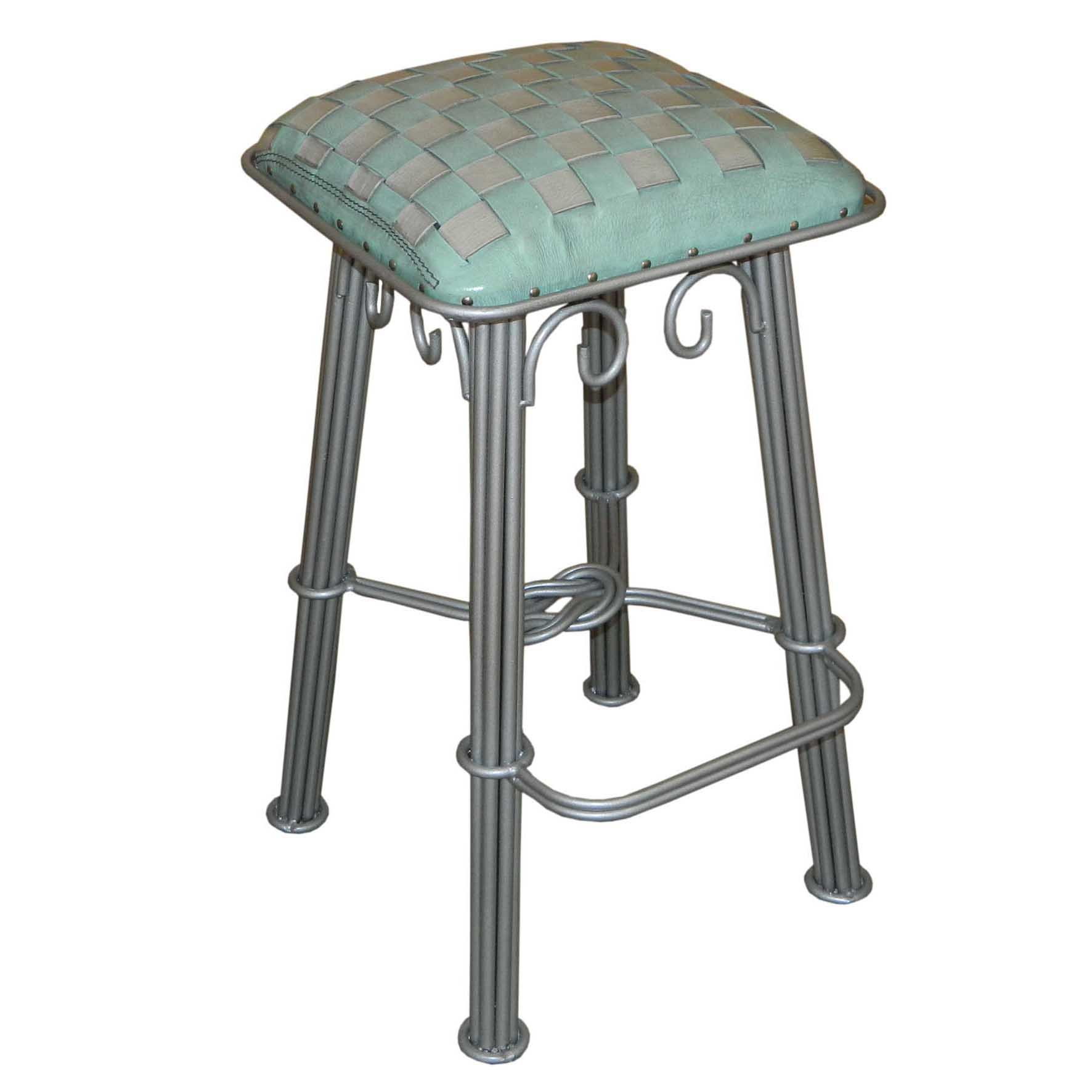Western Iron Barstool Ash Turquoise Braided Leather