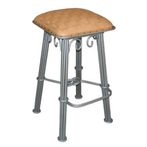 western-iron-barstool-natural-braided-leather-silver-iron