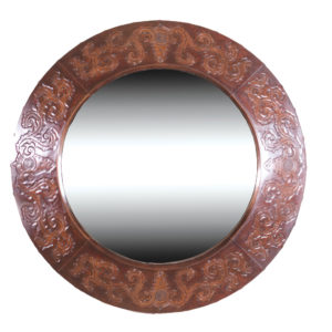 Imperial-Round-Mirror,-Colonial,-Antique-Brown
