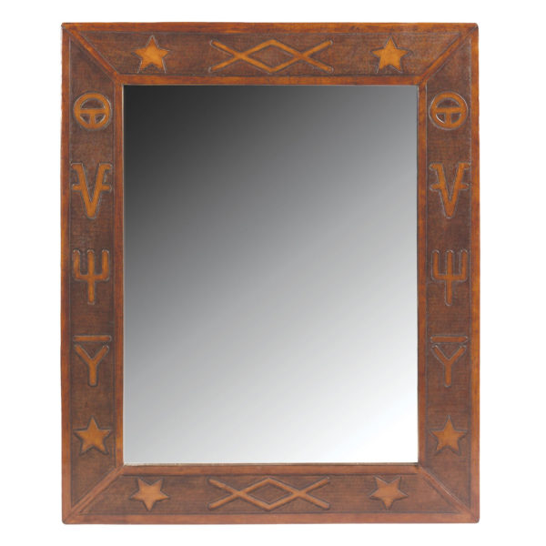 Jumbo Mirror, Western, Antique-Brown