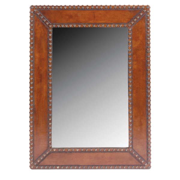 Large Mirror, Plain with Nailheads, Antique-Brown