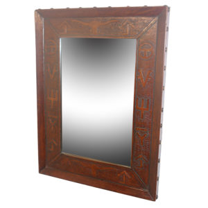 Super Jumbo Mirror, Western, Antique-Brown