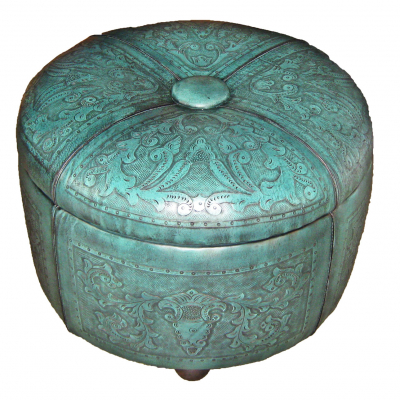 "Bouquet 24"" Ottoman, Colonial, Turquoise"