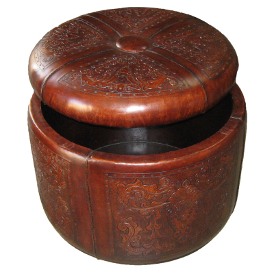 Bouquet Ottoman Box, Colonial, Antique-Brown