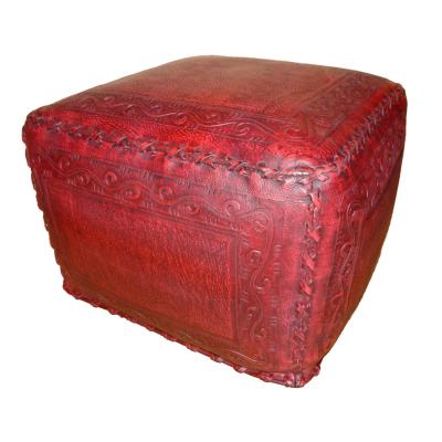 Large Ottoman, Classic Stitch, Red