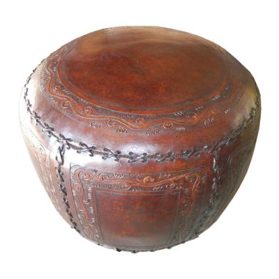 Large Ottoman, Round, Classic Stitch, Antique Brown