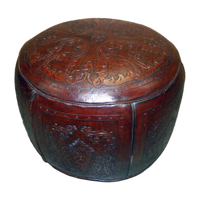 Large Ottoman, Round, Colonial, Antique Brown
