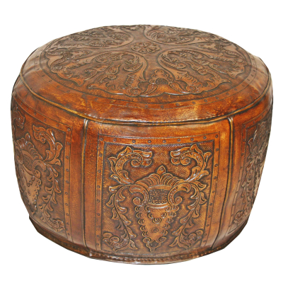Large Ottoman, Round, Colonial, Golden