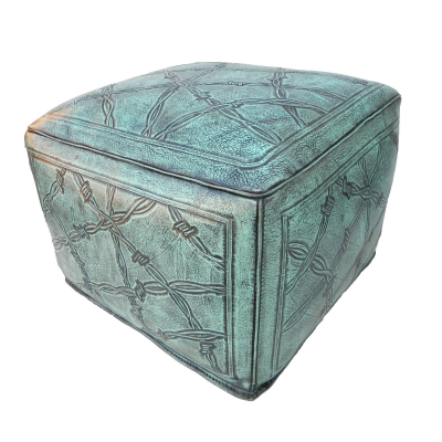 Large Ottoman, Barbed Wire, Turquoise