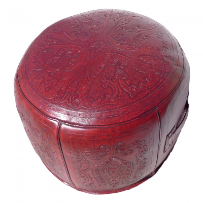 Large Ottoman, Round, Colonial, Red