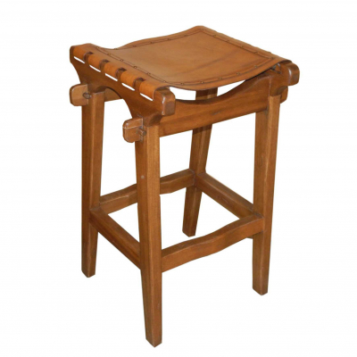 Santa Fe Barstool, Plain with Nailheads, Rustic Brown