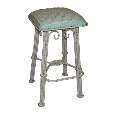 Western Iron Barstool,  Ash Turquoise Braided Leather, Ash Grey Iron