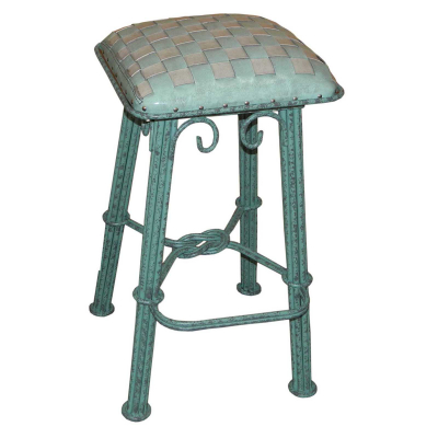 Western Iron Barstool,  Ash Turquoise Braided Leather, Turquoise Iron