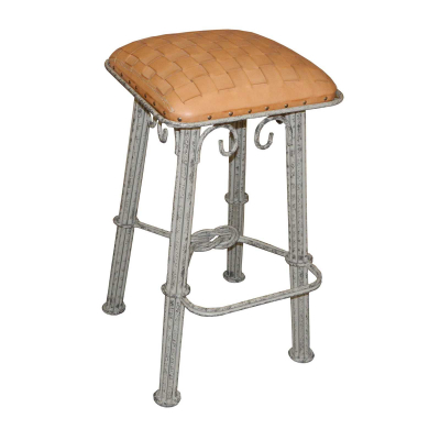 Western Iron Barstool, Natural Braided Leather, Ash Grey Iron