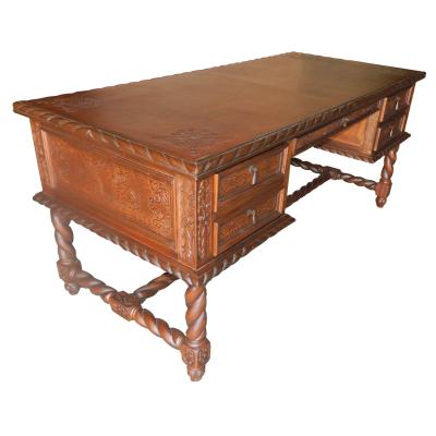 Solomon Desk, Fleur de Lys, Antique Brown