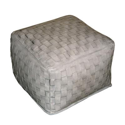 Square, Silver Braided Ottoman