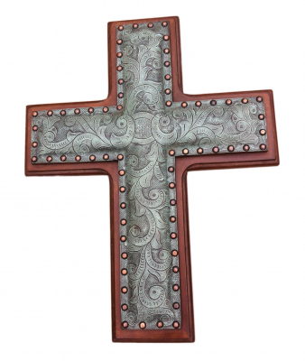 Leather Cross, C1, Turquoise