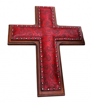 Leather Cross, C1, Red