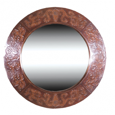 Imperial, Round Mirror, Colonial, Antique-Brown