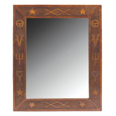 Jumbo Mirror, Western, Antique-Brown