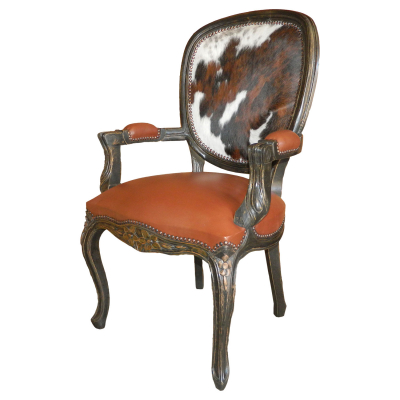 Bonanza Chair with arms, Light Brown Seat, Hair Hide on Back