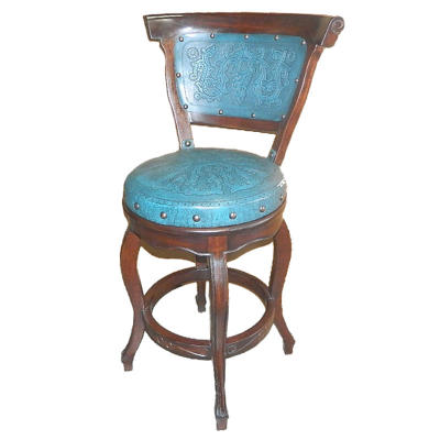 Spanish Heritage Round Barstool, with Back with Swivel, Teal