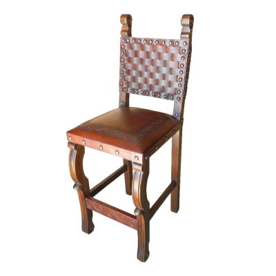 Spanish Barstool, Classic Seat, Braided Back