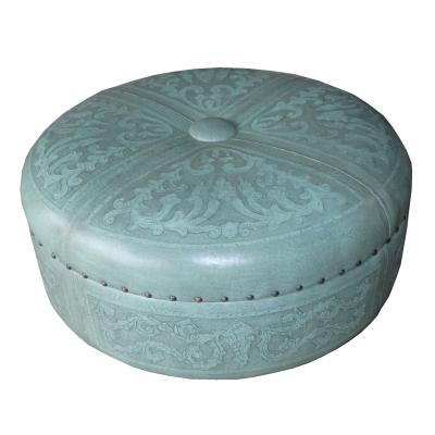 Super Jumbo, Round Ottoman, Colonial, Turquoise