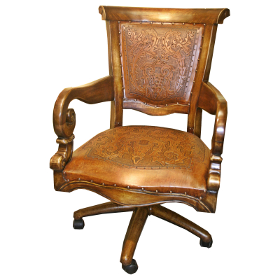 Swivel Office Chair, Colonial Rustic