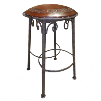 Simple Iron Barstool, Classic, Antique Brown