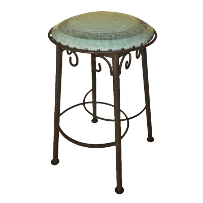 Simple Iron Barstool, Classic, Turquoise
