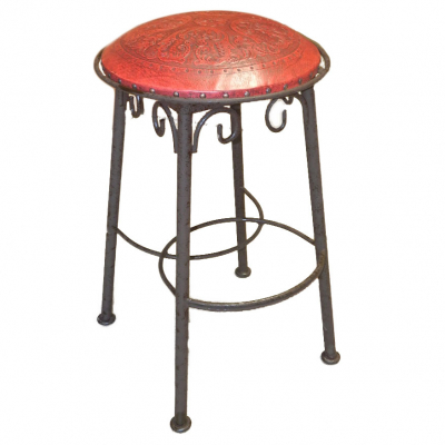 Simple Iron Barstool, Colonial, Red