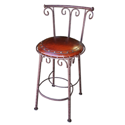 Simple Iron Barstool, with back, with swivel, Antique Brown, plain with tacks