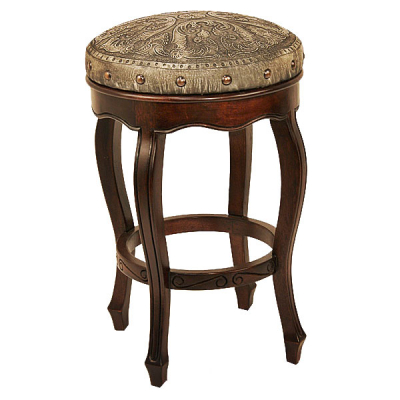 Spanish Heritage Round Barstool, Colonial, Ash