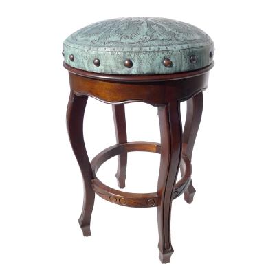 Spanish Heritage Round Barstool, Colonial, Turquoise