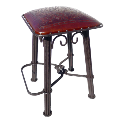 Western Iron Barstool, Colonial, Antique Brown