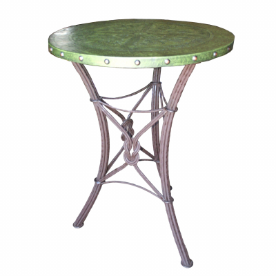 Western Iron Bar Table, Colonial, Green