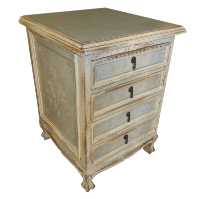 Spanish Heritage Four Drawers Nightstand, Crackeled Painted, Fleur de Lys, Ash