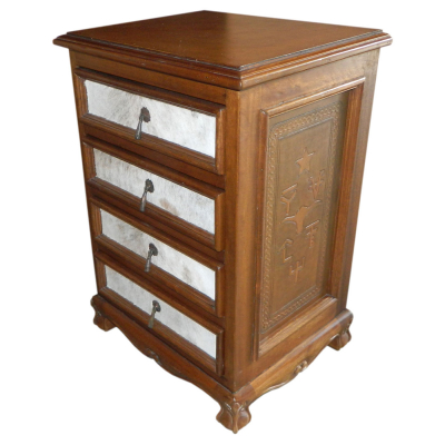 Spanish Heritage Four Drawers Nightstand, Steer Brands, Hair on Hide, Rustic